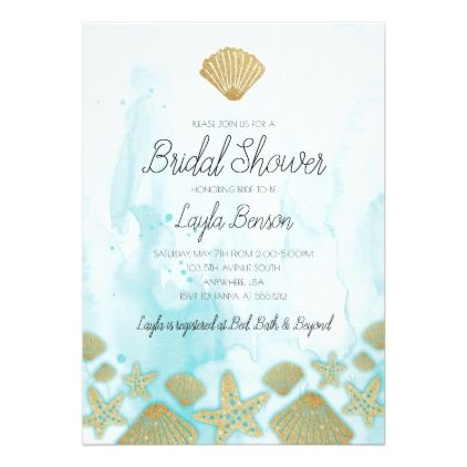 ocean themed beach bridal shower invitation bridal shower
