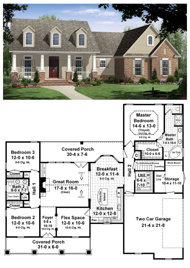 Traditional Style House Plan 59104 With 3 Bed 2 Bath 2 Car Garage New House Plans House Plans One Story House Plans
