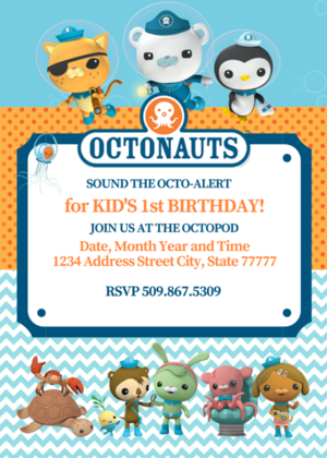 Free Octonauts 5x7 Printable invitation Save edit Future Party