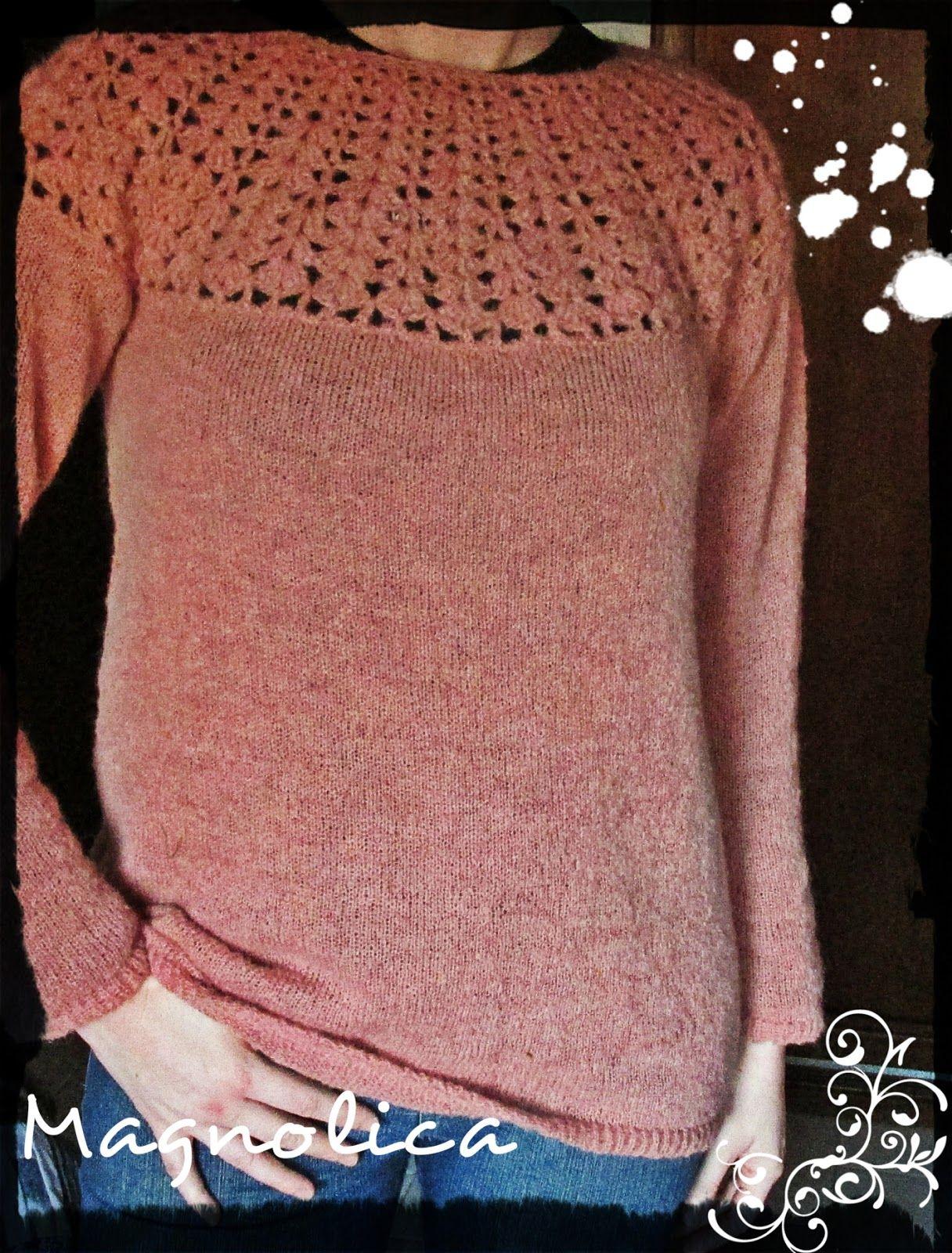 Magnolica: Sweater tejido a maquina combinado con crochet | crochet ...