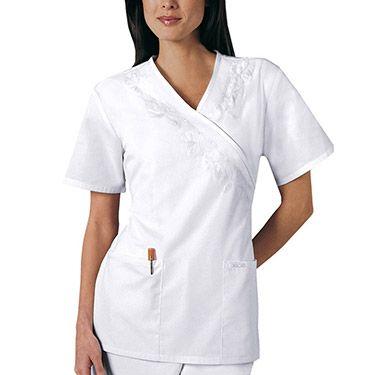 Nurse scrubs · Cherokee Women's Professional Whites Embroidered Mock Wrap  Tunic Solid Scrub Top