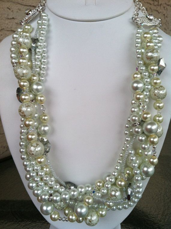White and Ivory Braided Pearl Necklace with by KBDesigners on Etsy, $80.00