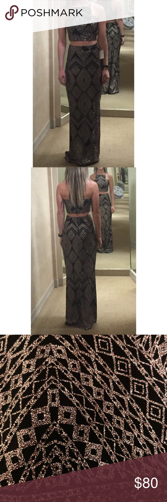 Gold and black glitter tribal formal dress nwt