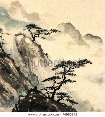 Chinese landscape painting. by iBird, via ShutterStock ...