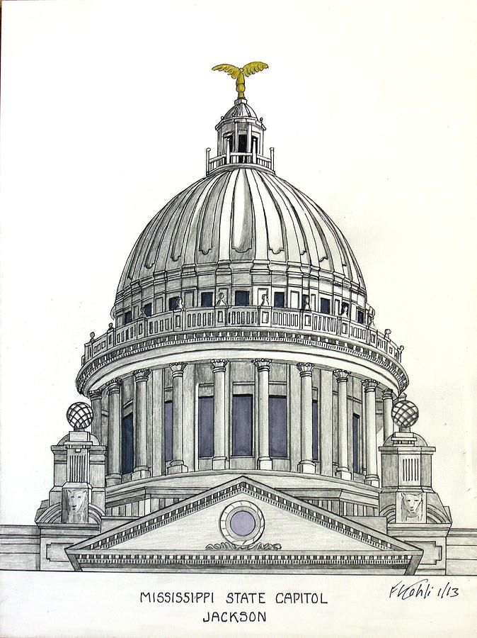 Mississippi State Capitol Drawing Artwork by my 87 year ...