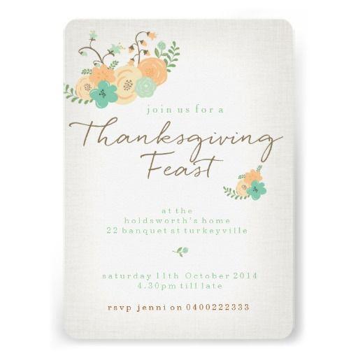 Modern Floral Thanksgiving Dinner Invitation