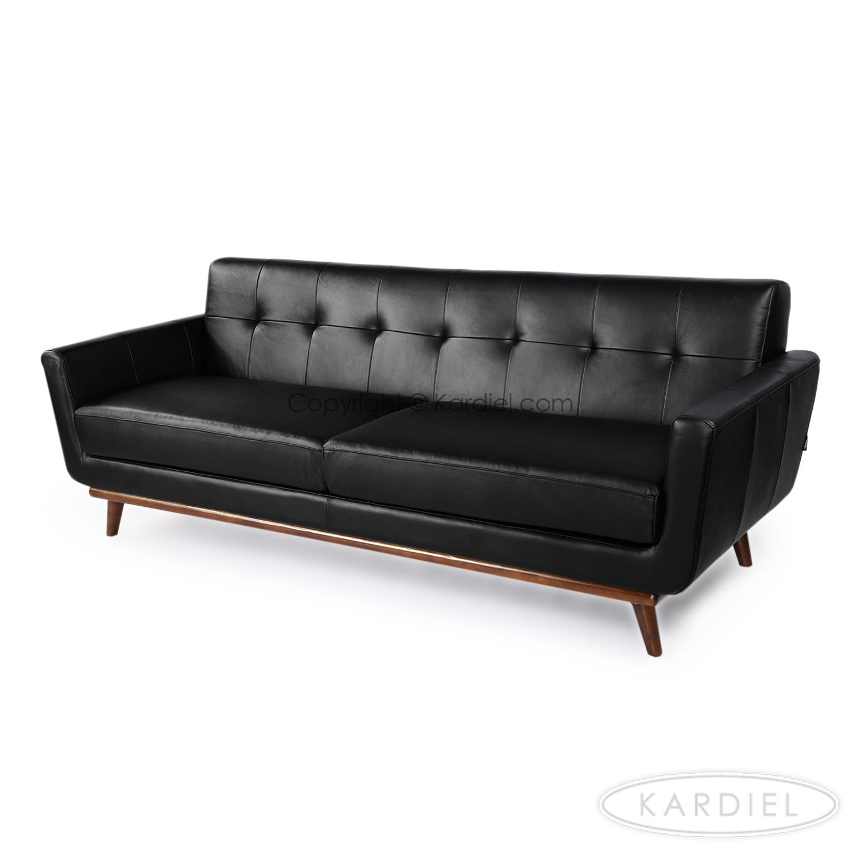 Jackie Mid Century Modern Classic Sofa Black Aniline Leather