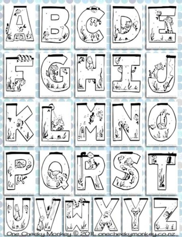 photo of printable aquarium alphabet colouring pages - Language Arts Coloring Pages