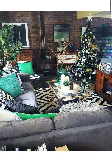 Instagram Brandilovedesigninterior Lappljung Ruta Rug From Ikea Christmas Decor Green Grey Living Room InspirationLiving