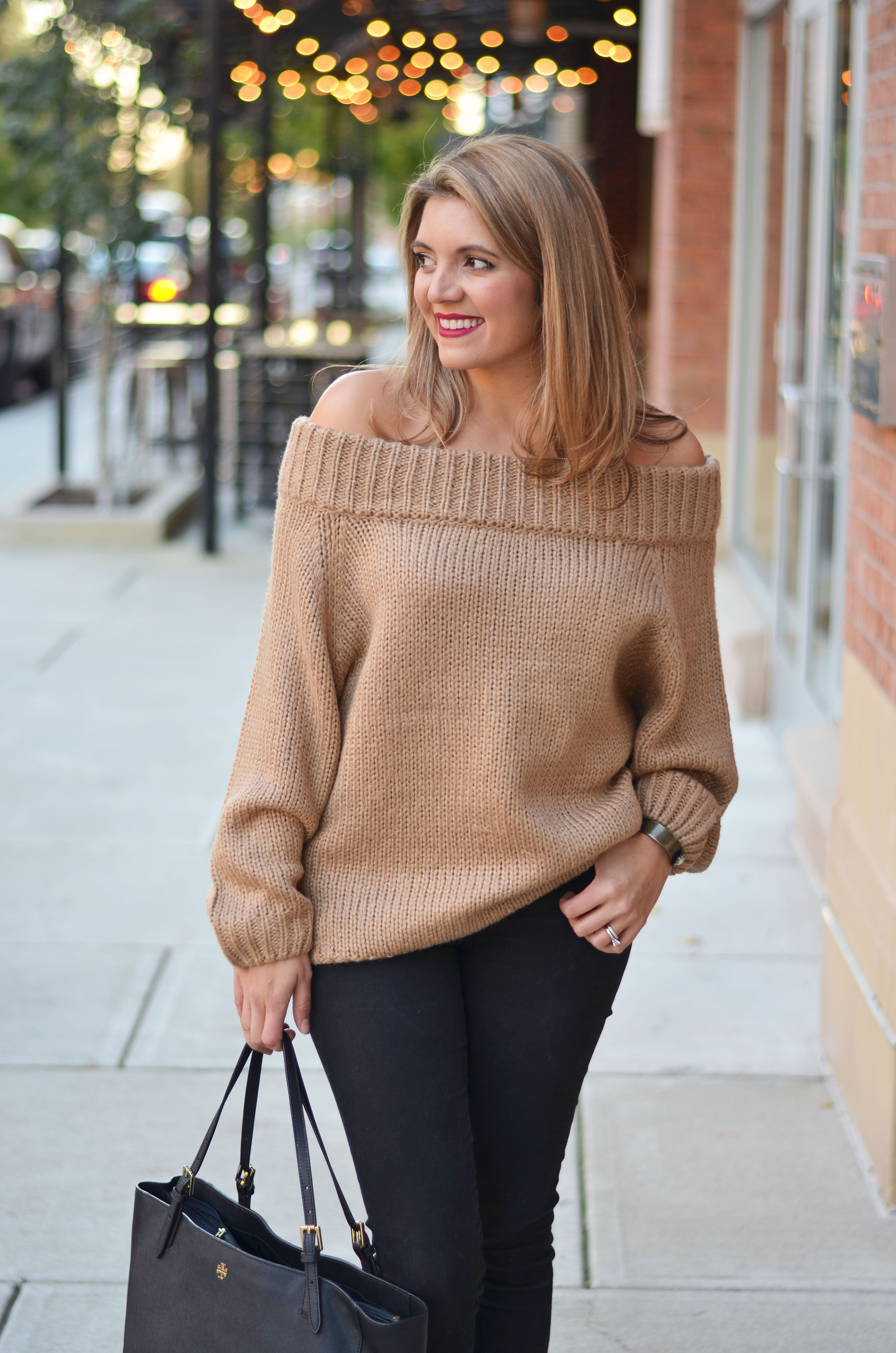 chunky off shoulder sweater - chunky camel sweater with black ...