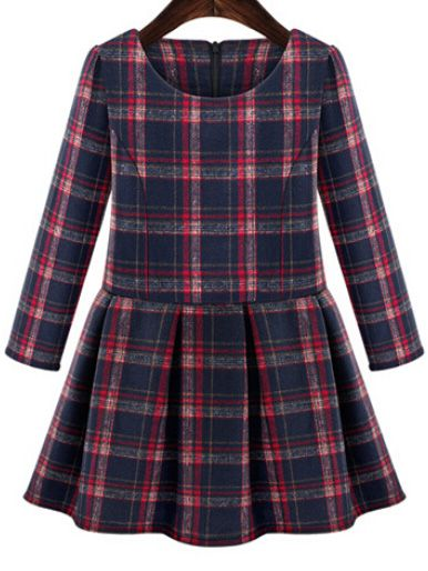 Long Sleeve Plaid Flare Dress 17.00