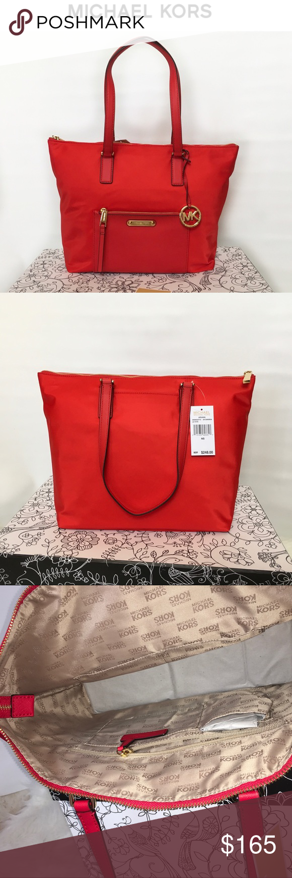 56e5cf1a504d Michael Kors Ariana Large Tote Sangria Red NWT Brand new with tags! Michael  Kors nylon Ariana nylon tote with leather accents. Large enough to fit  small ...