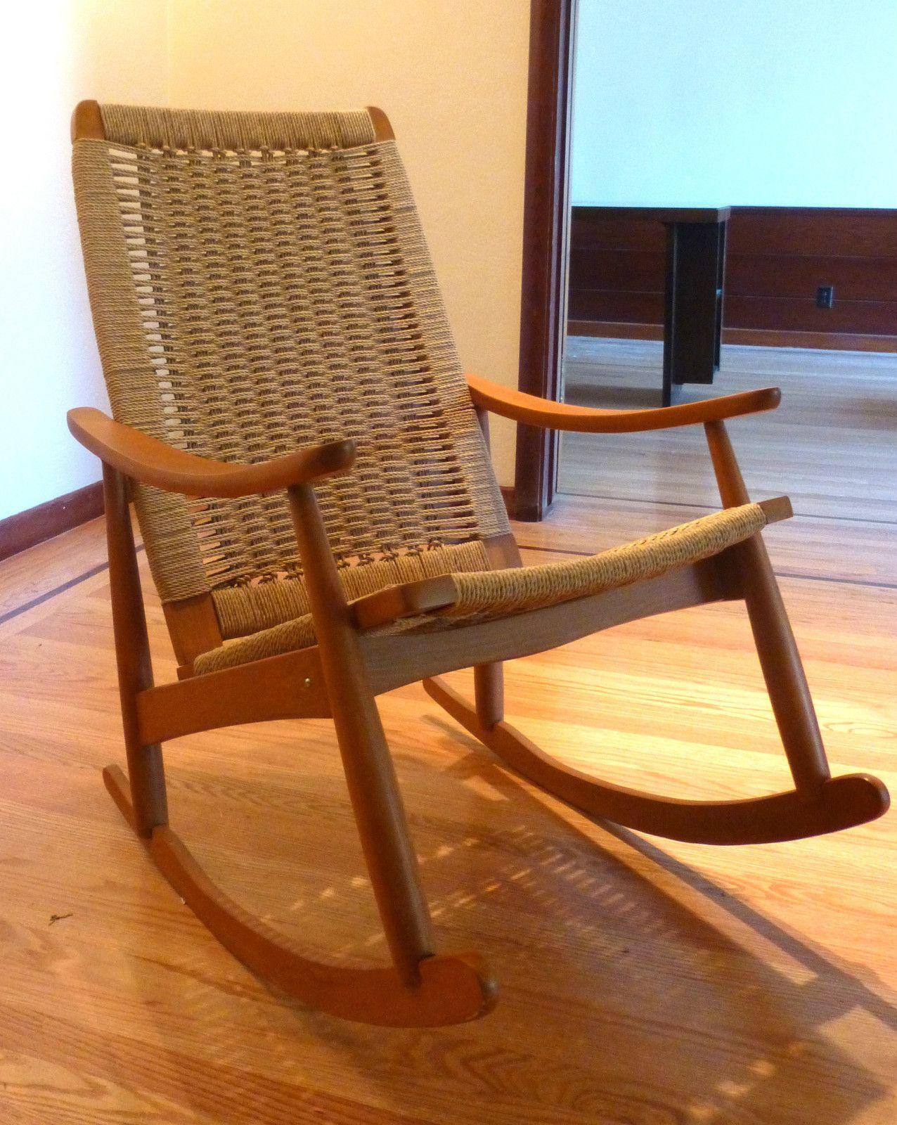 Mid Century Danish Modern Woven Rope Rocking Chair Wegner Style