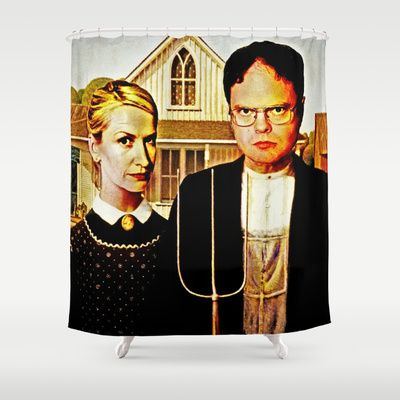 Dwight Schrute Angela Martin The Office American Gothic Shower Curtain By Silvio Ledbetter 68 00 American Gothic Dwight And Angela Dwight Schrute