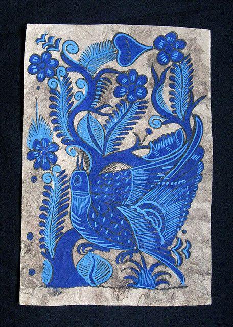 Blue Bird monochromatic Amate