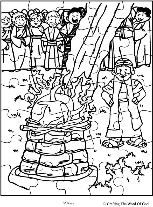 elijah coloring page - elijah and the prophets of baal puzzle activity sheet