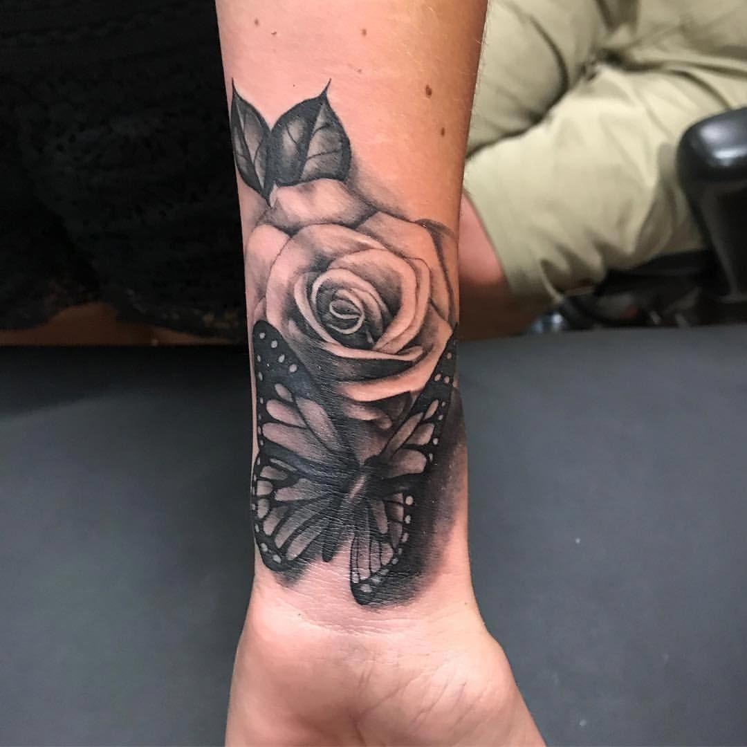 Just Mitch On Instagram Friday S Work Girlytattoo Butterflytattoo Tattoodesign Ros In 2020 Wrist Tattoos For Guys Wrist Tattoo Cover Up Wrist Tattoos