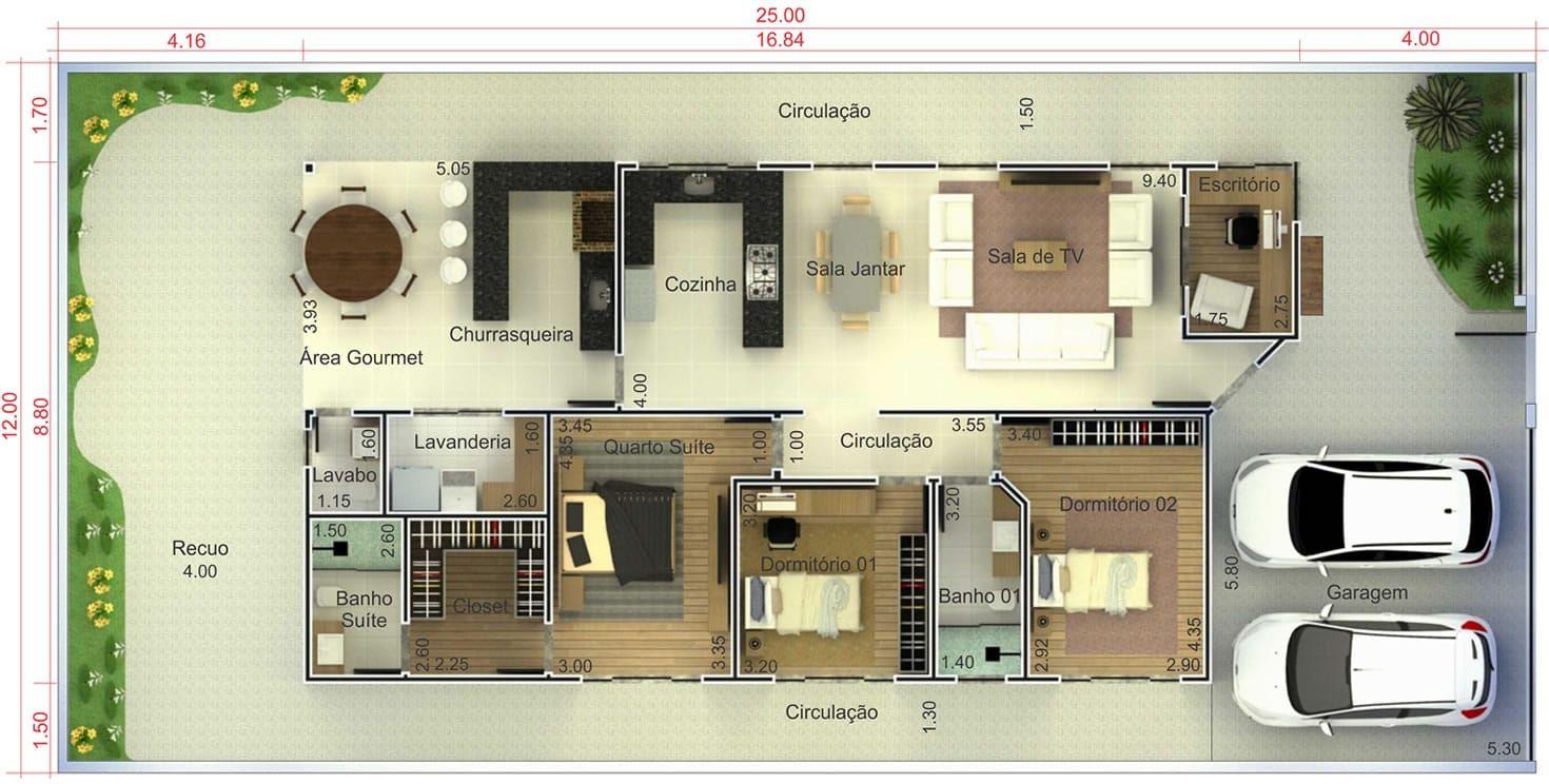 Planta de casa com varanda gourmet planta para terreno for Casa moderna 7x20