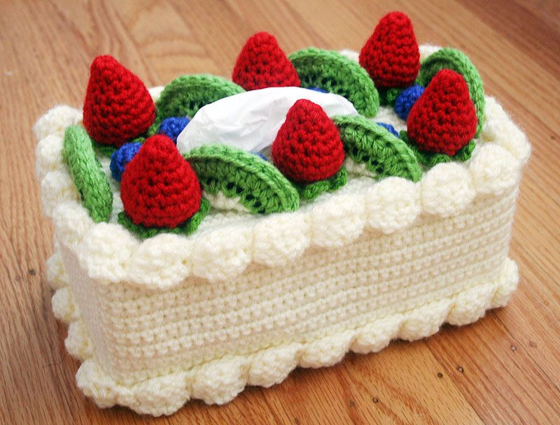 Free Crochet Pattern: Cake Tissue Box Cozy (Chiffon Cake with Fruit ...