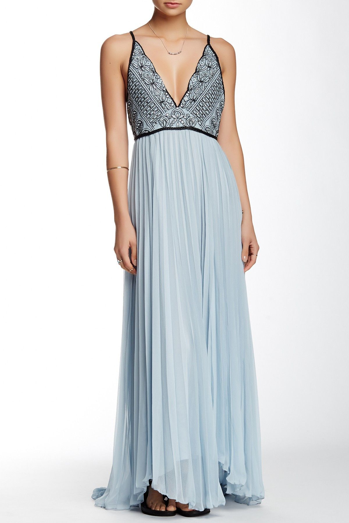Free People   Belle Of The Ball Leather Trim Maxi Dress   Nordstrom ...