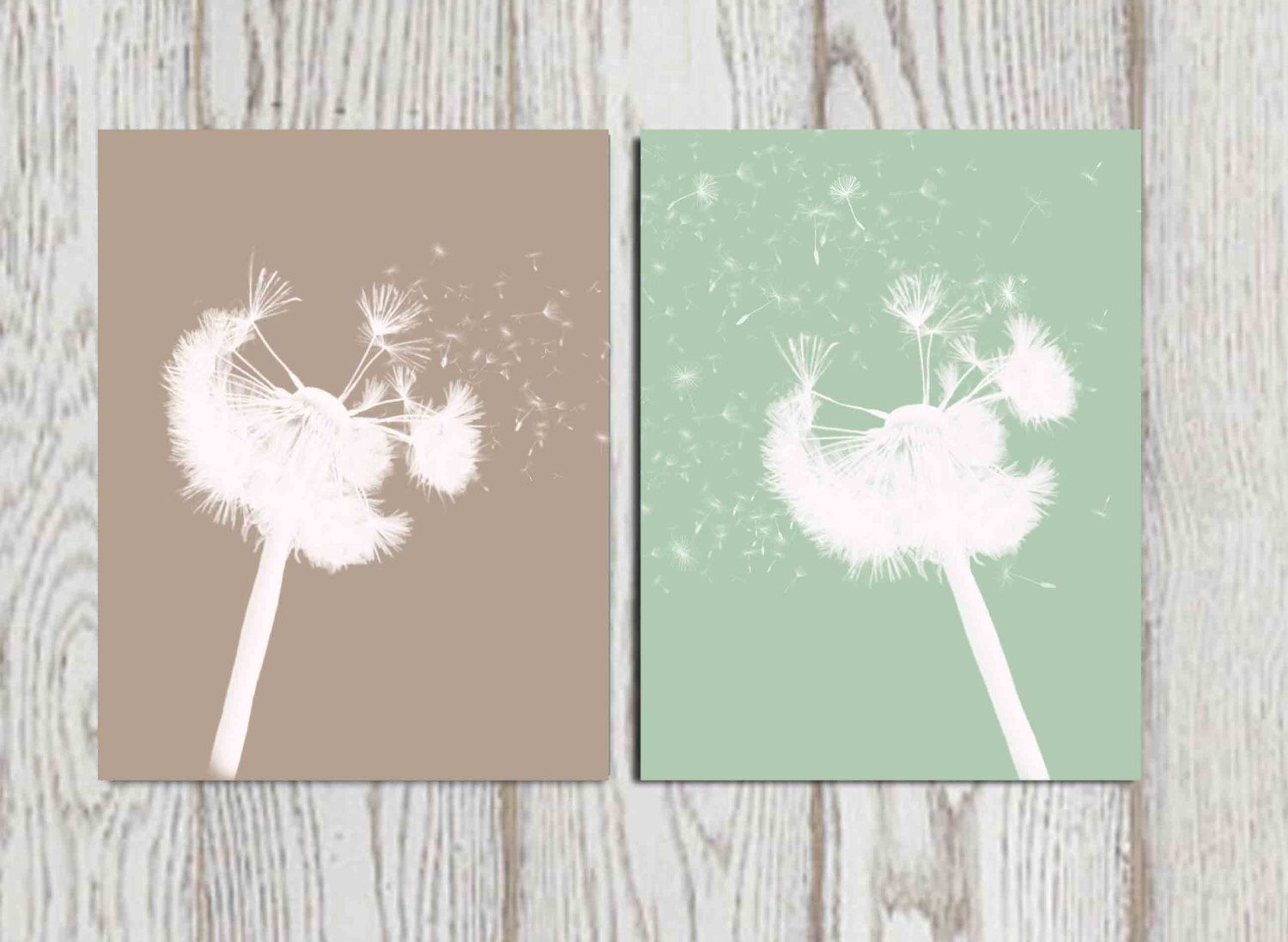 dandelion wall art print taupe mint green home decor bedroom decor