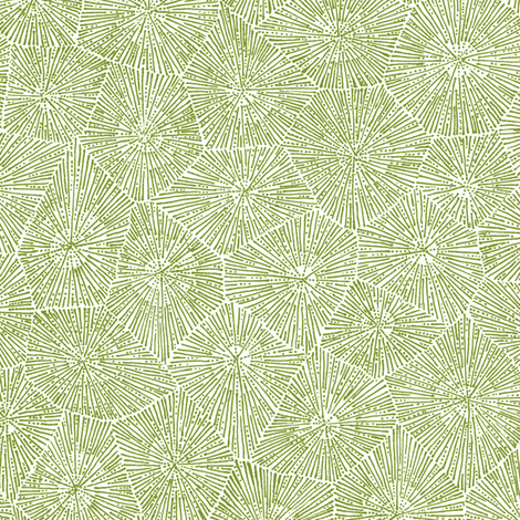 petoskey-stone pattern, moss green on white fabric by weavingmajor ...