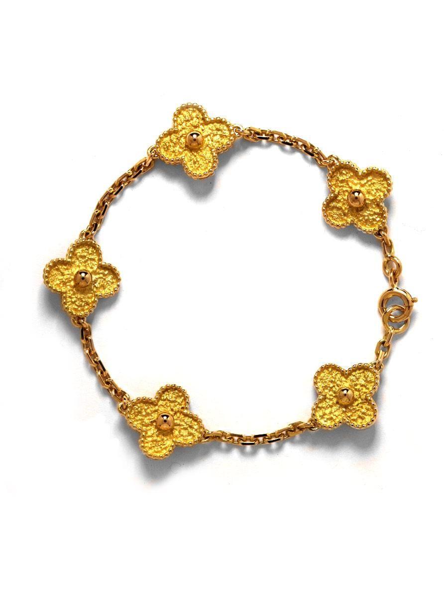 Van cleef arpels 18k motif alhambra bracelet at london jewelers