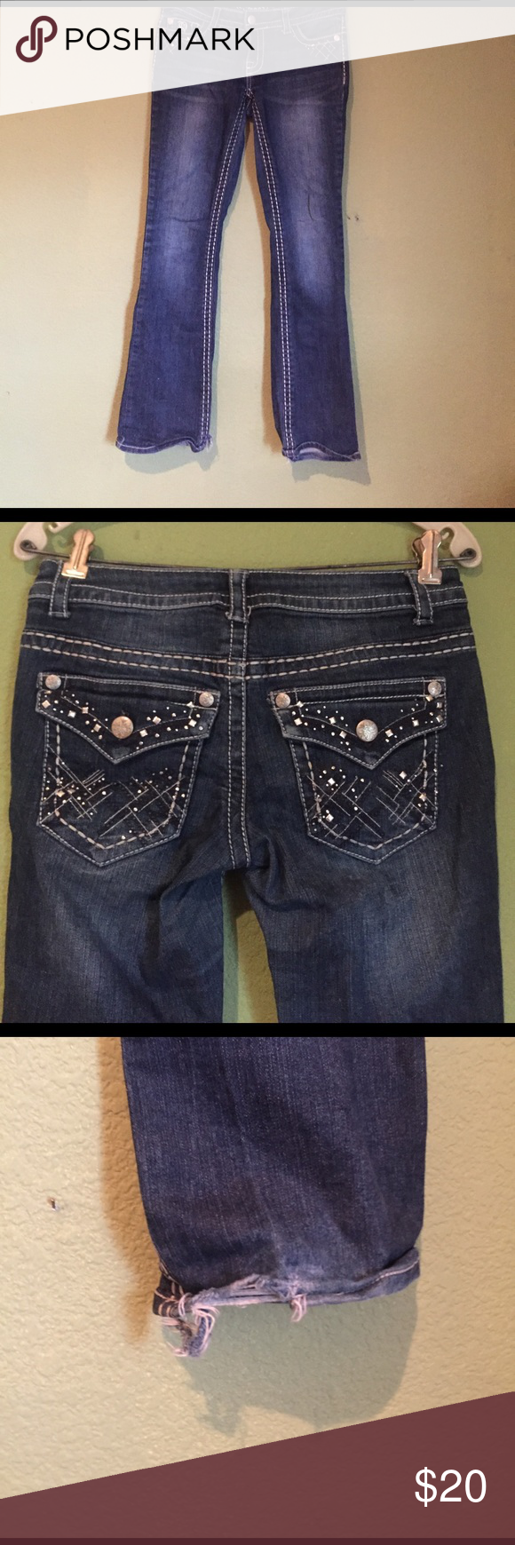 Jeweled Jeans Studded and Jeweled Jeans bought from Target; worn, but still good condition; frayed at the cuffs Jeans Boot Cut