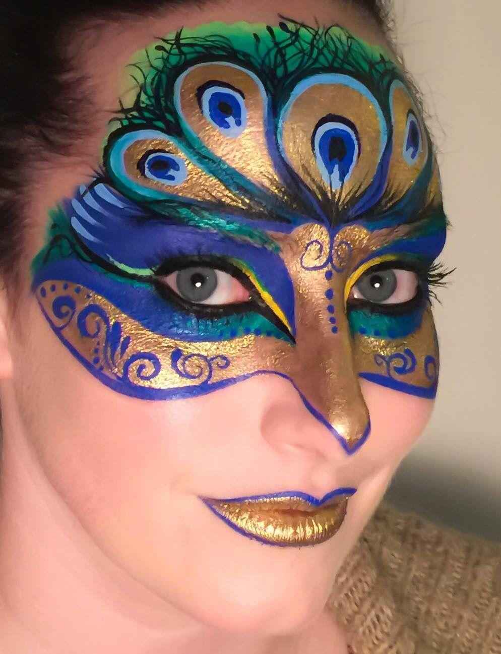 Peacock Mask Face Painting Makeup Facepaint Makeup Peacock