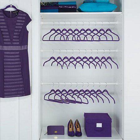 Joy Mangano 100 Piece Huggable Hangers Set Purple Orchid With