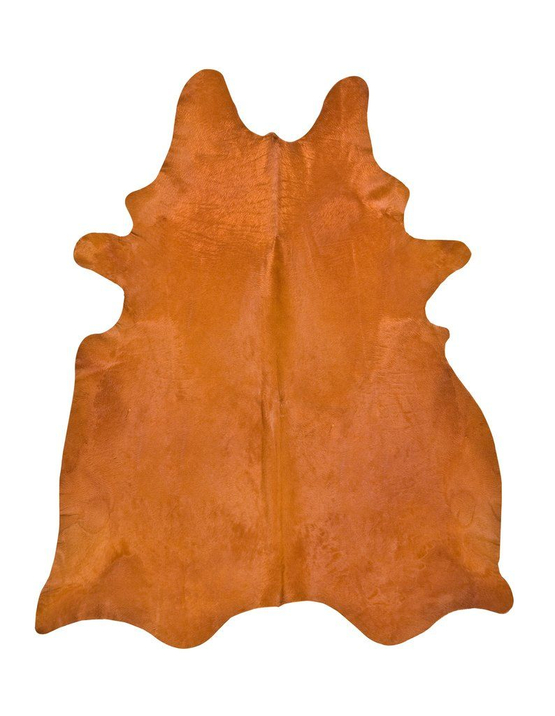 Orange Dyed Cowhide Rug - L