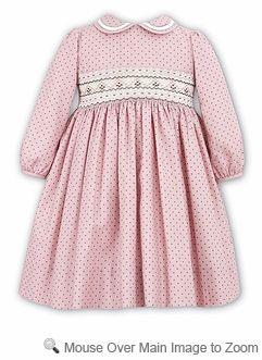 Sarah Louise Girls Smocked Dress With Collar Long Sleeves Pink
