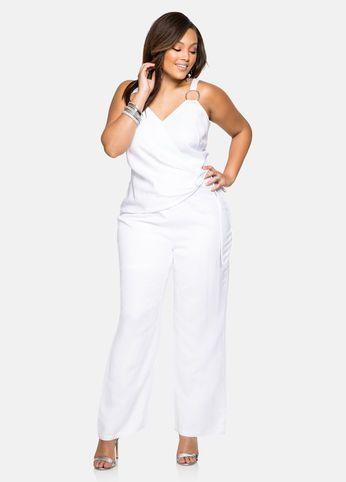 Plus Size White Evening Jumpsuits