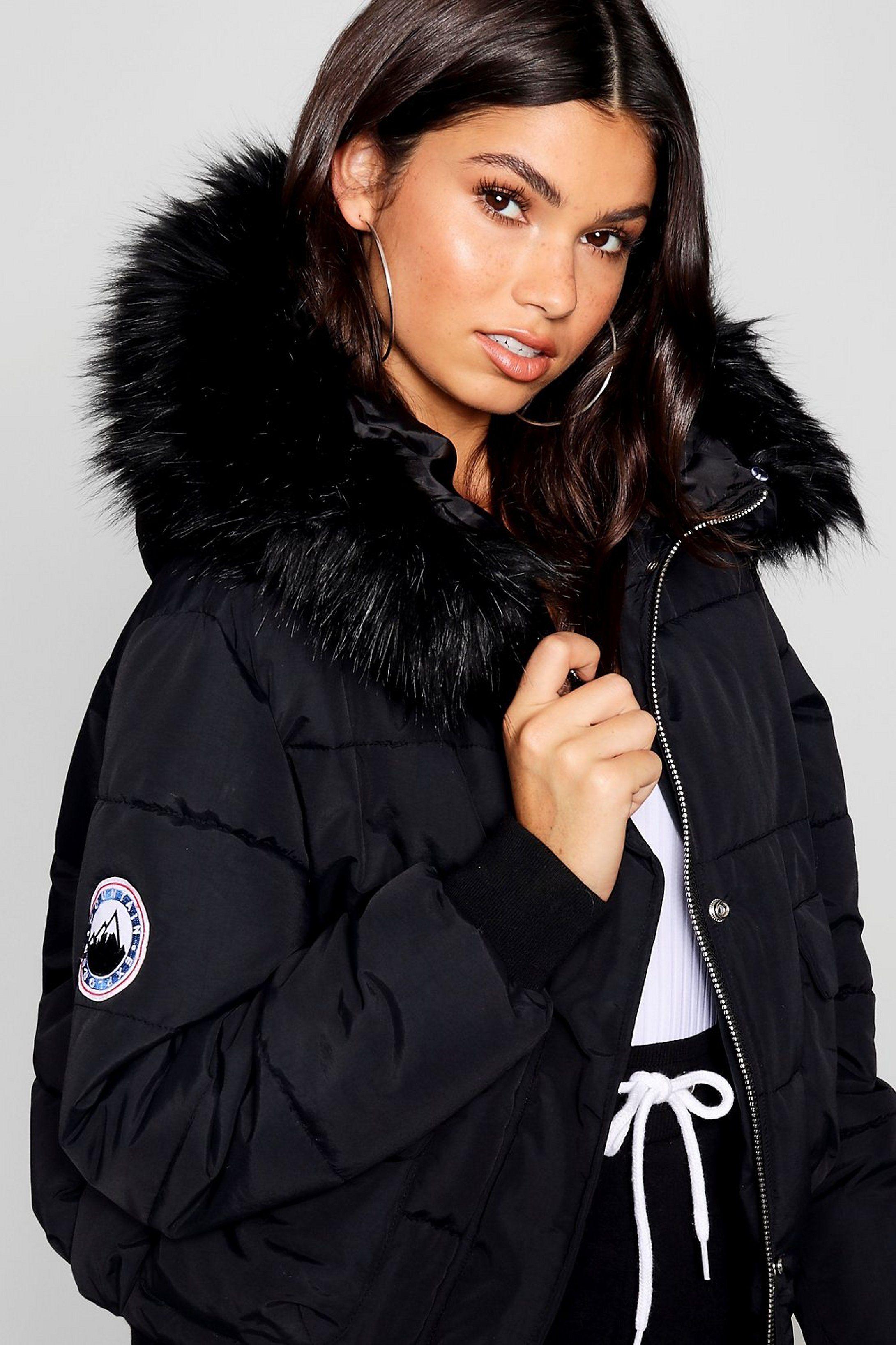 Black Faux Fur Hood Crop Puffer Boohoo Faux Fur Hood Black Faux Fur Puffer Coat With Fur [ 3272 x 2181 Pixel ]