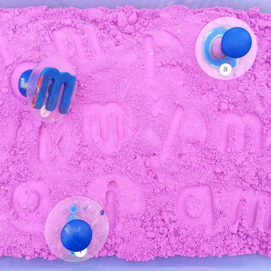 Kinetic Sand Alphabet Stamping From Anna Imagination