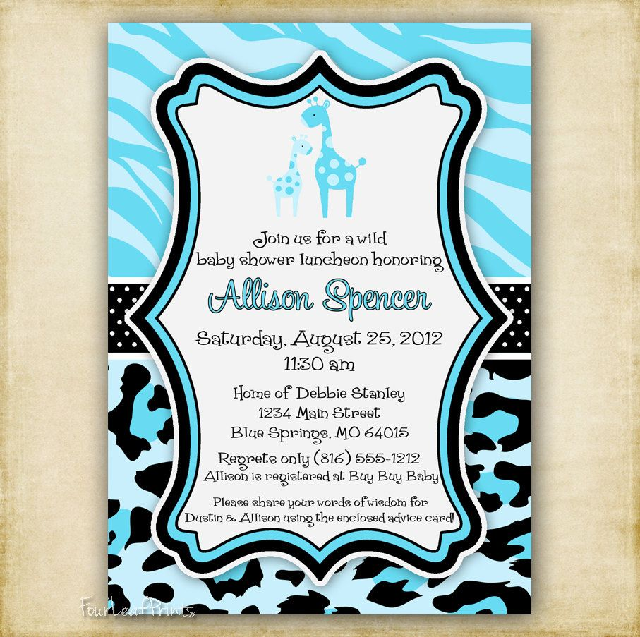 Blue Zebra and Leopard Print - Giraffe Baby Shower Invitation ...