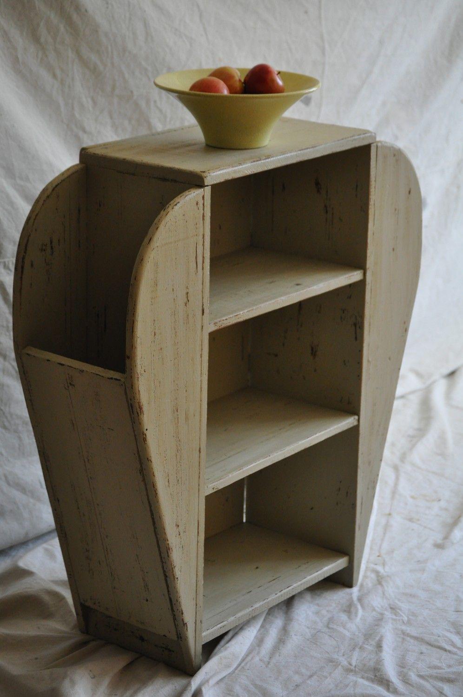 Vintage Shabby Chic Furniture | Vintage Beige Shabby Chic Foyer Stand / Hand Painted Furniture
