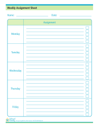 Assignment sheet can help kids and parents stay on top of their homework and other assignments.