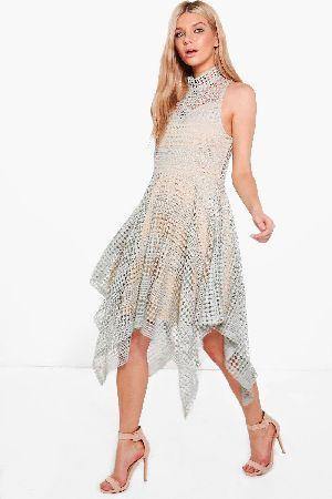#boohoo Cleo Crochet Hanky Hem Skater Dress - grey #Boutique Cleo Crochet Hanky Hem Skater Dress - grey