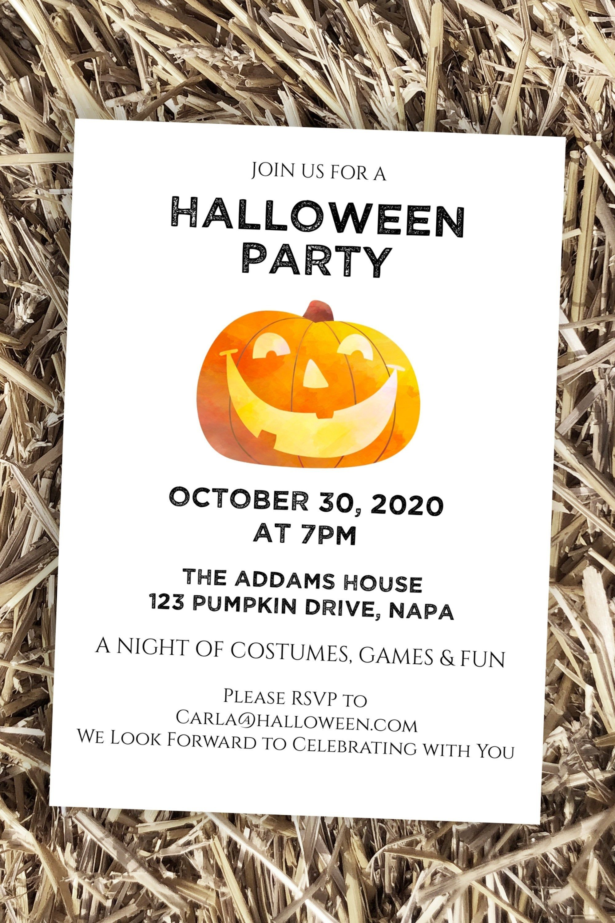 Halloween Party Invitation Virtual Party Invite Zoom Halloween Party Pumpkin Editabl Halloween Party Invitations Halloween Invitation Template Virtual Party