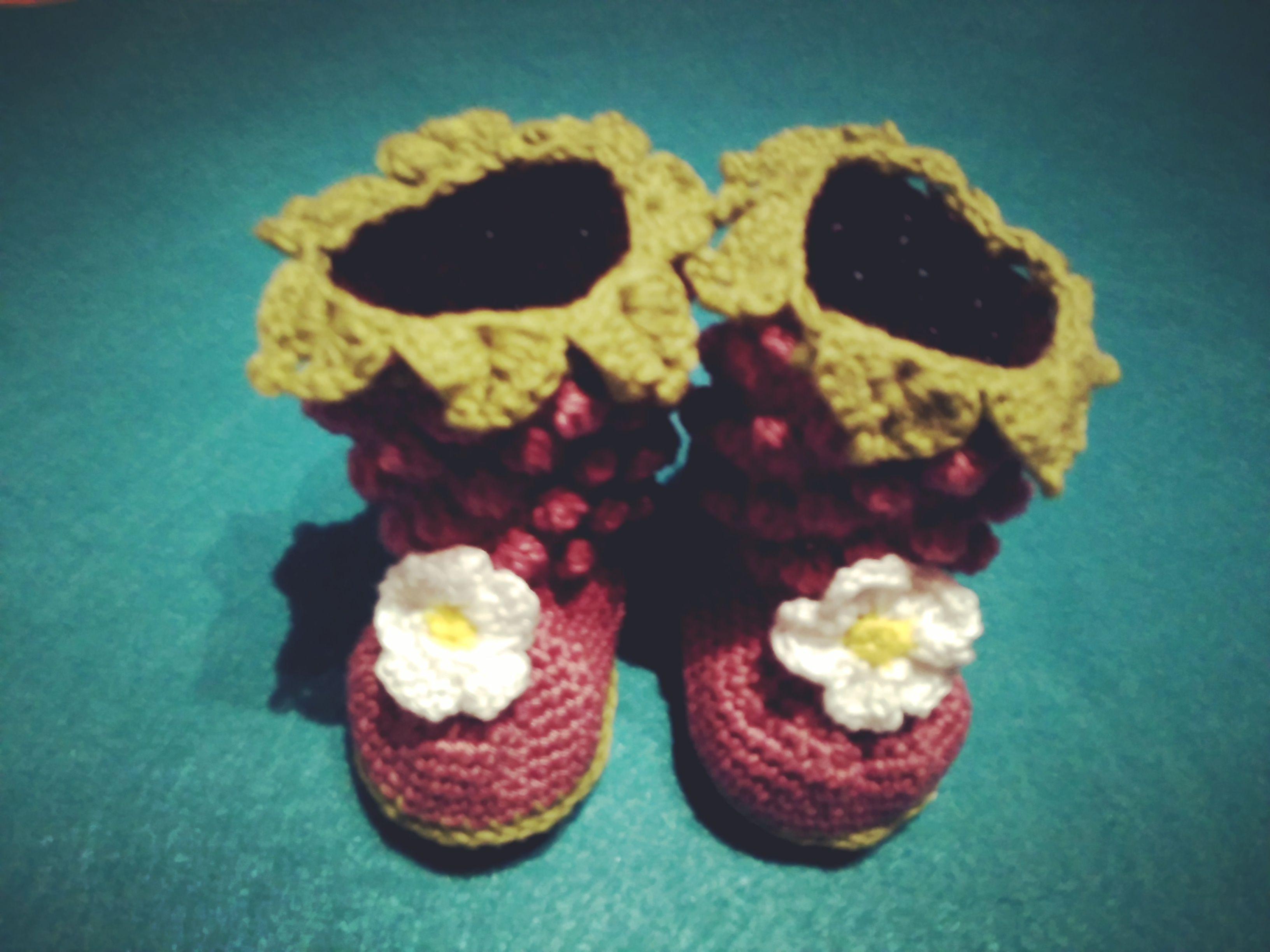 crochet raspberry booties