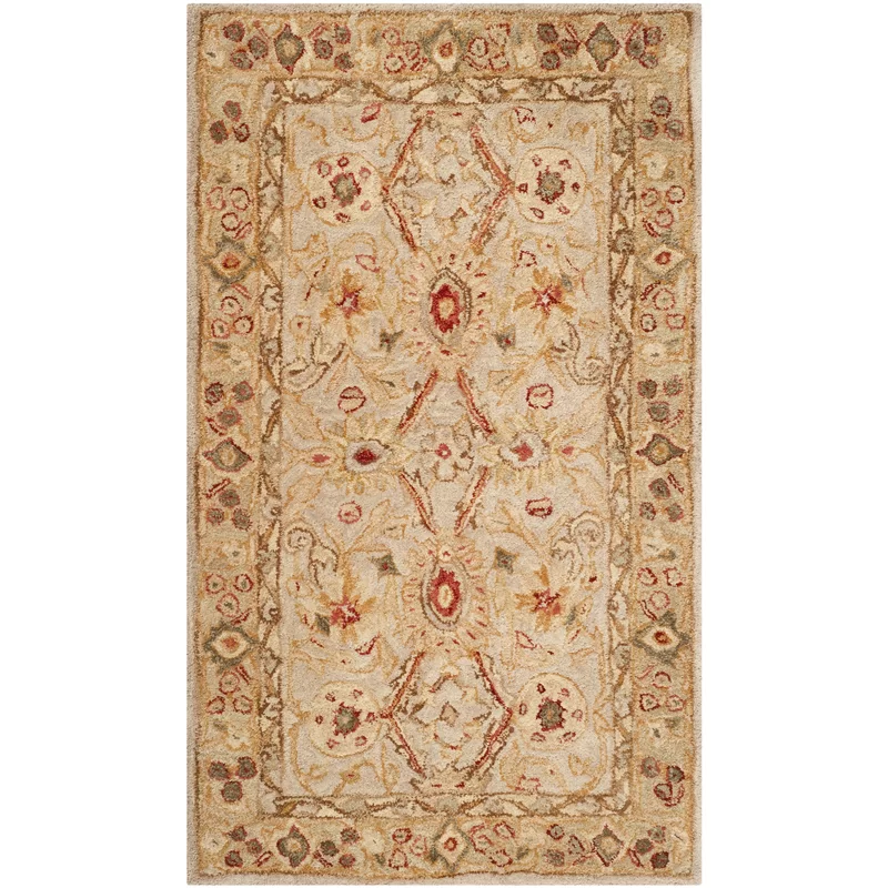 Tingley Floral Hand Tufted Wool Ivory Sage Area Rug Wool Area Rugs Area Rugs Yellow Area Rugs