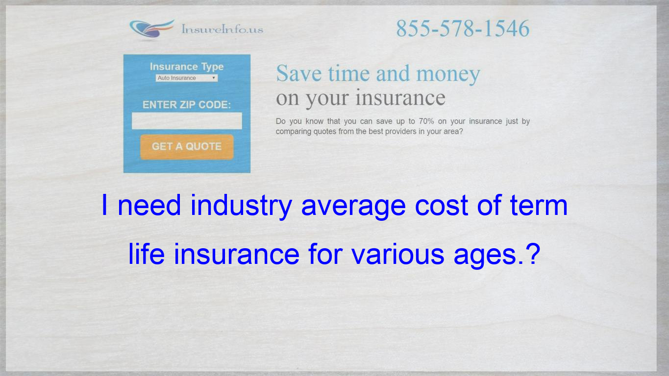 I Need Industry Average Cost Of Term Life Insurance For Various