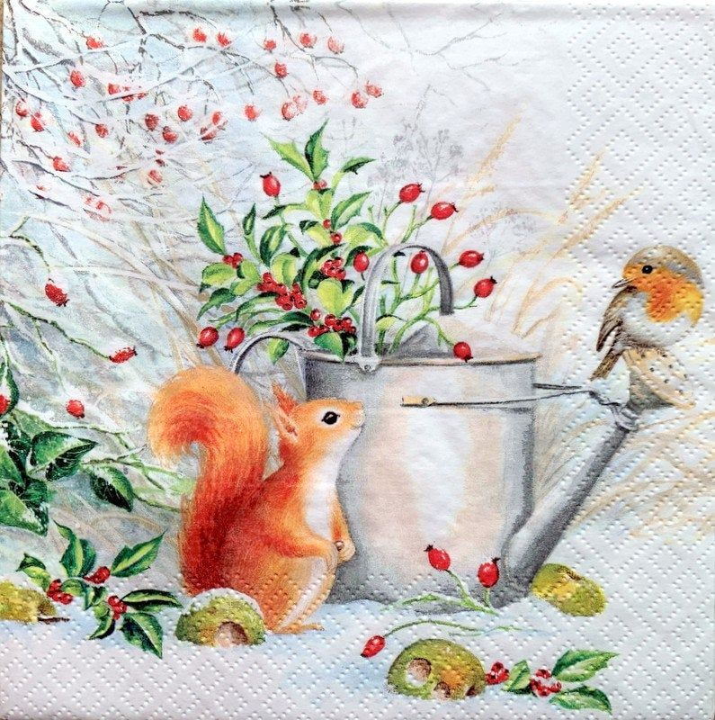 Decoupage Napkins, 2 Single Paper Napkins, Decor #528-1, 13 inches (33 cm) for Decoupage, Paper-Craft and Collage
