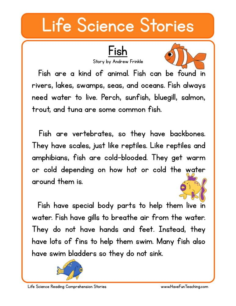 Reading Comprehension Worksheet  Fish is part of Science reading, Science reading comprehension, Reading comprehension worksheets, Reading comprehension, First grade reading comprehension, Science stories - This Reading Comprehension Worksheet  Fish is for teaching reading comprehension  Use this reading comprehension story to teach reading comprehension