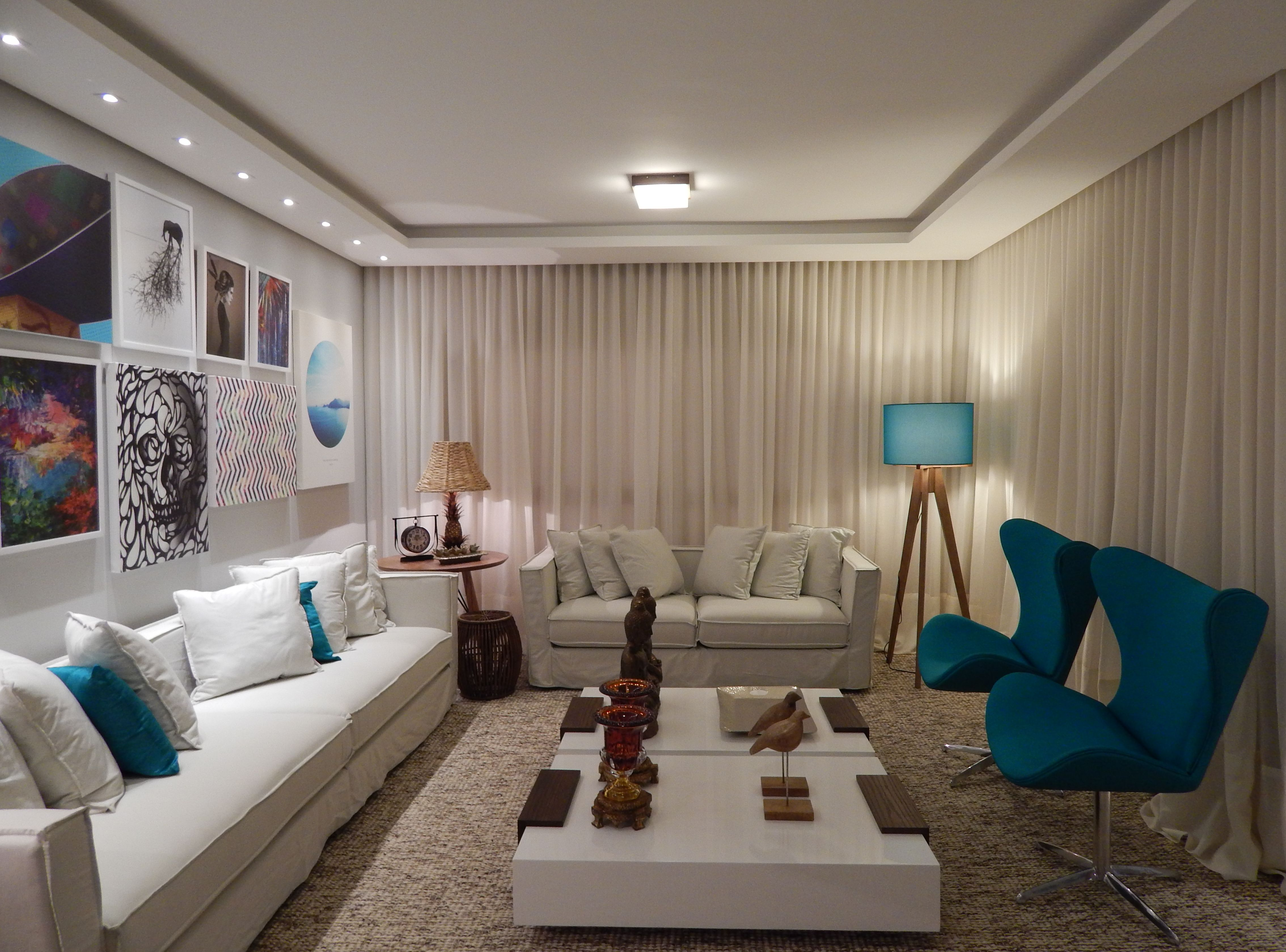 Sala De Estar 2014 Arquiteta Barbara Panassi Azul Turquesa  -> Abajur Para Decoracao De Sala