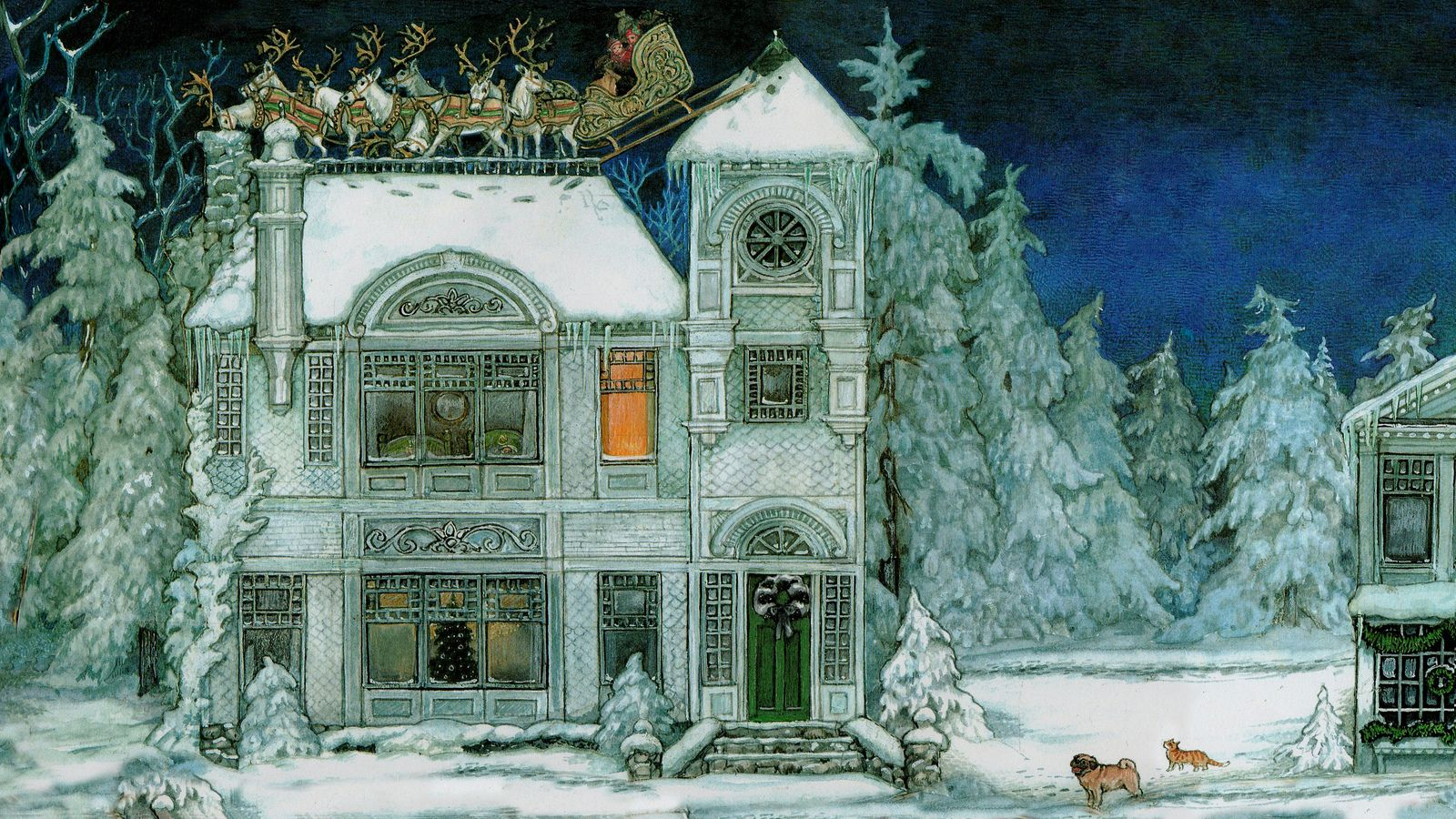 Jan Brett 'The Night Before Christmas' 1998 (formatted for computer wallpaper 1920x1080) | by Plum leaves