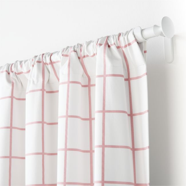 "Pink Grid 84"" Curtain Panel 