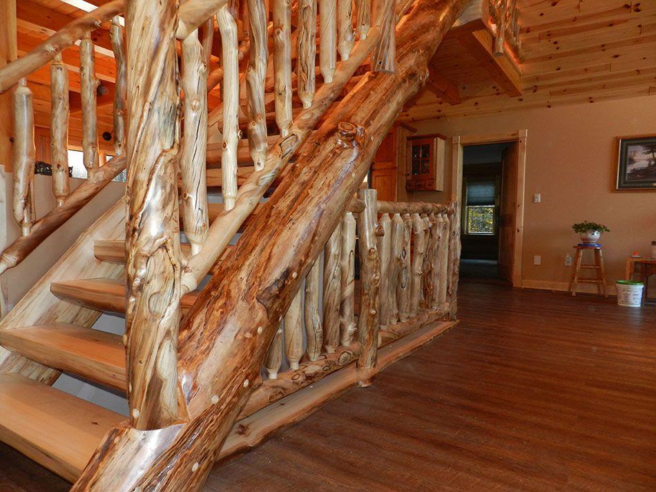 Detailed Log Stairs U0026 Railings
