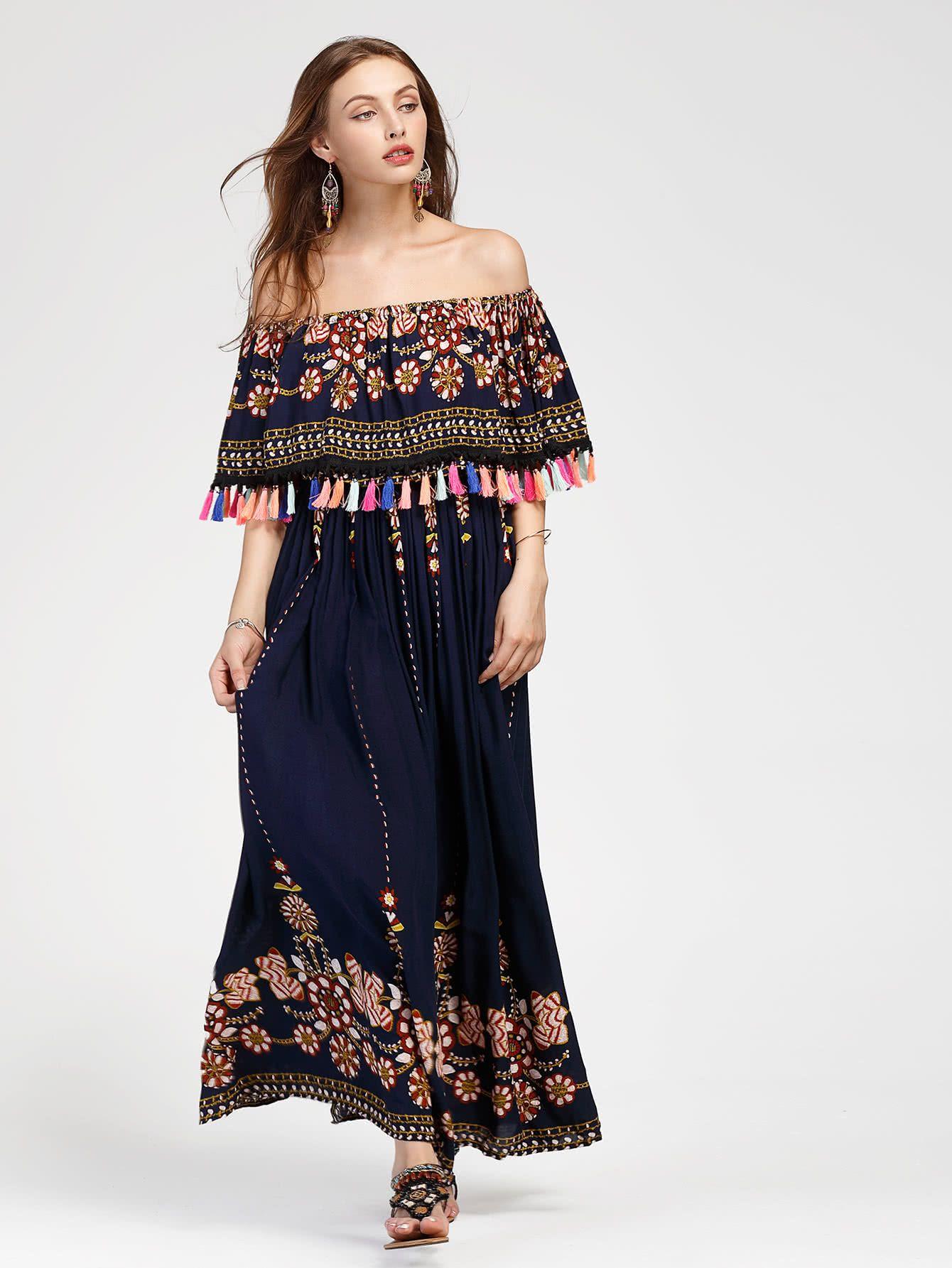 Kleid mit geschichtem hals quaste und aztischmuster german shein sheinside fashion - Shein damenmode ...